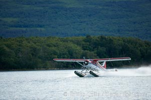 Floatplane landing on Brooks Lake. Brooks Lake, Katmai National Park, Alaska, USA, natural history stock photograph, photo id 17373