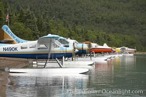 Floatplanes lie the shore, Brooks Lake, Katmai National Park, Alaska