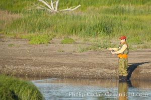 Fly fishing on Silver Salmon Creek. Silver Salmon Creek, Lake Clark National Park, Alaska, USA, natural history stock photograph, photo id 19091