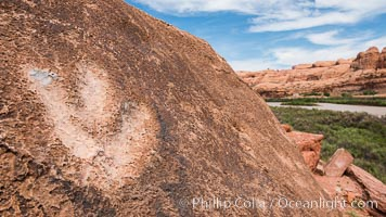 Dinosaur track over the Colorado River, Moab, Utah. Moab, Utah, USA, natural history stock photograph, photo id 29268