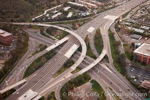 Freeway intersection, Interstate 8 and Highway 163, looking west, San Diego, California