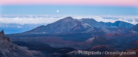 Full Moon and Earth Shadow over Haleakala crater, Maui, Hawaii.  The dark band on the horizon is the shadow of the earth, while the lighter pink band is atmosphere that is still lit by the setting sun. Maui, Hawaii, USA, natural history stock photograph, photo id 34516