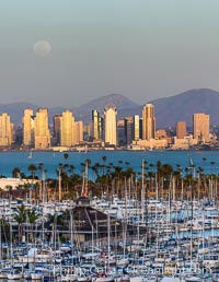 Full Moon over San Diego City Skyline, viewed from Point Loma. San Diego, California, USA, natural history stock photograph, photo id 29115