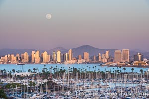 Full Moon over San Diego City Skyline, viewed from Point Loma. California, USA, natural history stock photograph, photo id 29117