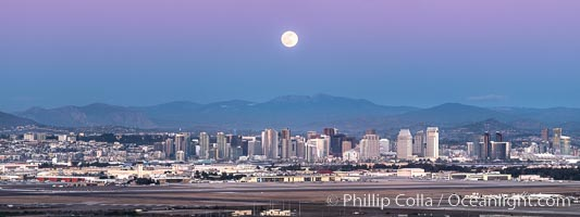 Full Moon Rises over San Diego City Skyline, viewed from Point Loma, panoramic photograph. California, USA, natural history stock photograph, photo id 36636