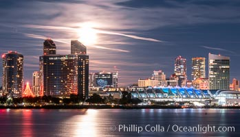Full Moon over San Diego City Skyline, San Diego Convention Center