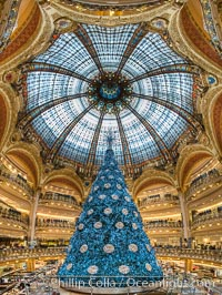 Christmas tree display at les Galeries Lafayette.  The Galeries Lafayette is an upmarket French department store company located on Boulevard Haussmann in the 9th arrondissement of Paris