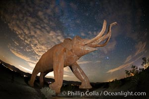 Mammoth art sculpture, by Ricardo Breceda, at night under the stars in Galleta Meadows, Borrego Springs, California