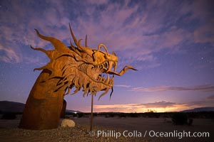 350-foot long sea serpent, a work of art in Borrego Springs by Ricardo Breceda, sunset, Galleta Meadows