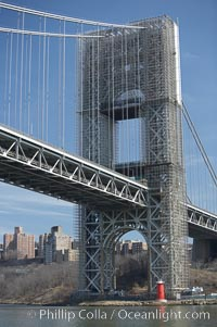 George Washington Bridge, with construction scaffolding.  Hudson River, Manhattan, New York City