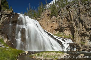 Gibbon Falls drops 80 feet through a deep canyon formed by the Gibbon River. Although visible from the road above, the best vantage point for viewing the falls is by hiking up the river itself. Gibbon River, Yellowstone National Park, Wyoming, USA, natural history stock photograph, photo id 13272