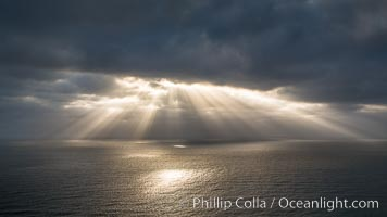 God Beams, clouds and afternoon light over the Pacific Ocean, Del Mar, California