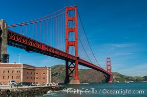 Golden Gate Bridge, viewed from Fort Point, with the Marin Headlands visible in the distance.  San Francisco. San Francisco, California, USA, natural history stock photograph, photo id 09052