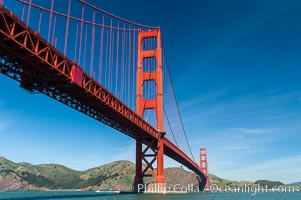 Golden Gate Bridge, viewed from Fort Point, with the Marin Headlands visible in the distance.  San Francisco