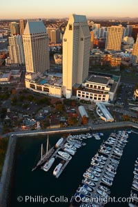 Grand Hyatt hotel towers, rising above the Embarcadero Marina and yacht basin, San Diego, California