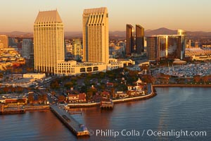 Grand Hyatt hotel towers, above Seaport Village and San Diego Bay. San Diego, California, USA, natural history stock photograph, photo id 22405