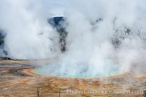 Grand Prismatic Spring steams in cold winter air, Midway Geyser Basin, Yellowstone National Park, Wyoming
