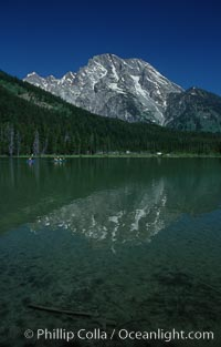 Mount Moran rises above String Lake, Grand Teton National Park, Wyoming