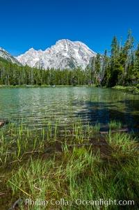 Mount Moran rises above String Lake, Grand Teton National Park, Wyoming