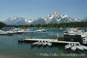 Colter Bay Marina on Jackson Lake with Mount Moran in the distance, Grand Teton National Park, Wyoming