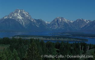 The Teton Range rises above Jackson Lake, viewed from Signal Hill, Grand Teton National Park, Wyoming