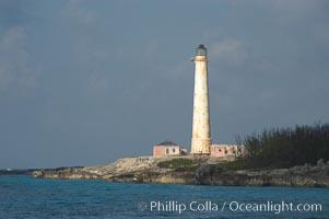 Abandoned lighthouse on Great Isaac Island. Bahamas, natural history stock photograph, photo id 10867