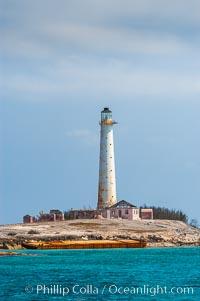 Abandoned lighthouse on Great Isaac Island. Bahamas, natural history stock photograph, photo id 10868