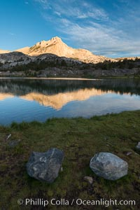 Greenstone Lake and North Peak, Hoover Wilderness, Sunrise. 20 Lakes Basin, California, USA, natural history stock photograph, photo id 31051