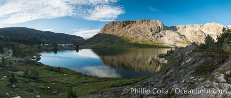 Greenstone Lake Panorama, Hoover Wilderness, Sunrise, 20 Lakes Basin