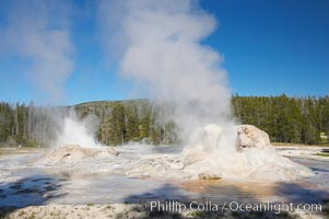 Grotto Geyser steams (right) while Rocket Geyser erupts (left).  Upper Geyser Basin, Yellowstone National Park, Wyoming