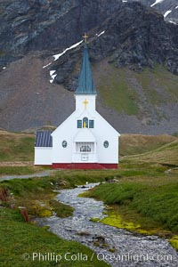 Grytviken Chapel, at the old whaling station of Grytviken, South Georgia Island. Grytviken, South Georgia Island, natural history stock photograph, photo id 24415