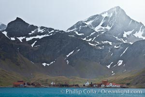 Grytviken, an old whaling colony that is now host to the British Antarctic Survey research efforts as well as a historic museum. Grytviken, South Georgia Island, natural history stock photograph, photo id 24465