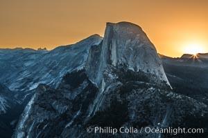 Half Dome at sunrise, viewed from Glacier Point. Yosemite National Park, California, USA, natural history stock photograph, photo id 27954
