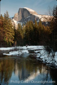 Half Dome and Merced River, winter. Half Dome, Yosemite National Park, California, USA, natural history stock photograph, photo id 02332