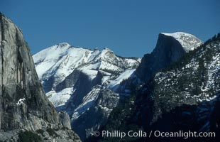 Half Dome (right), Clouds Rest (center), El Capitan (left). El Capitan, Yosemite National Park, California, USA, natural history stock photograph, photo id 07043