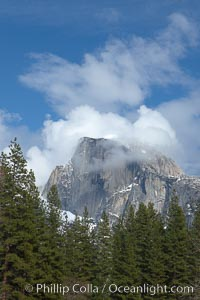 Half Dome and clouds, spring, viewed from Sentinel Bridge. Yosemite National Park, California, USA, natural history stock photograph, photo id 22752