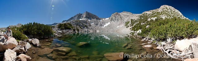 Hanging Basket Lake (10601'), with Fletcher Peak (11410') rising above on the right, panoramic view, Yosemite National Park, California