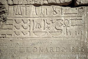 Heiroglyphics and tourist graffiti. Luxor, Egypt, natural history stock photograph, photo id 02594