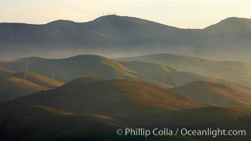 Hills between Morro Bay and Atascadero, early morning light, power transmission lines and signal attenae. Morro Bay, California, USA, natural history stock photograph, photo id 22222