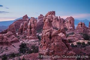 Hoodoo goblin rocks at dawn. Arches National Park, Utah, USA, natural history stock photograph, photo id 27872