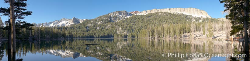 Panorama of Horseshoe Lake in the Mammoth Lakes basin, early morning