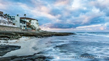 Hospital Point, La Jolla, dawn, sunrise light and approaching storm clouds. California, USA, natural history stock photograph, photo id 28849