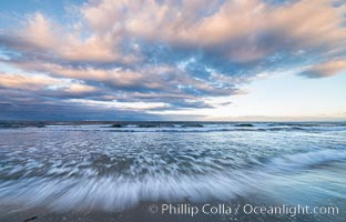 Hospital Point, La Jolla, dawn, sunrise light and approaching storm clouds. California, USA, natural history stock photograph, photo id 28850
