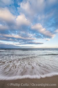 Hospital Point, La Jolla, dawn, sunrise light and approaching storm clouds. California, USA, natural history stock photograph, photo id 28855