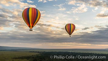 Hot Air Ballooning over Maasai Mara plains, Kenya. Maasai Mara National Reserve, natural history stock photograph, photo id 29805