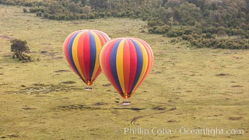 Hot Air Ballooning over Maasai Mara plains, Kenya. Maasai Mara National Reserve, natural history stock photograph, photo id 29807