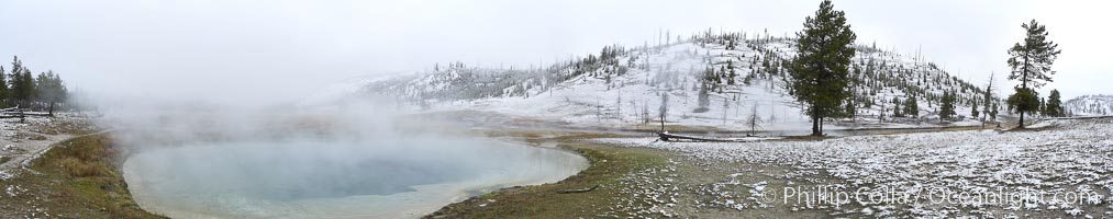 Hot Spring, steaming in cold winter air, panorama, Midway Geyser Basin, Yellowstone National Park, Wyoming