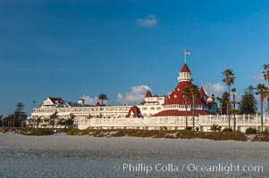 The Hotel del Coronado sits on the beach on the western edge of Coronado Island in San Diego.  It is widely considered to be one of Americas most beautiful and classic hotels.  Built in 1888, it was designated a National Historic Landmark in 1977. California, USA, natural history stock photograph, photo id 07945
