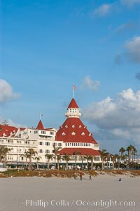 The Hotel del Coronado sits on the beach on the western edge of Coronado Island in San Diego.  It is widely considered to be one of Americas most beautiful and classic hotels.  Built in 1888, it was designated a National Historic Landmark in 1977. Coronado, California, USA, natural history stock photograph, photo id 07946