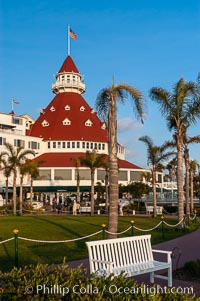 Image 07950, The Hotel del Coronado sits on the beach on the western edge of Coronado Island in San Diego.  It is widely considered to be one of Americas most beautiful and classic hotels.  Built in 1888, it was designated a National Historic Landmark in 1977. Coronado, California, USA, Phillip Colla, all rights reserved worldwide. Keywords: beach, california, coast, coronado, del, historic, hotel, hotel del coronado, inn, landmark, ocean, pacific, resort, san diego, sea, seashore, shore, usa.